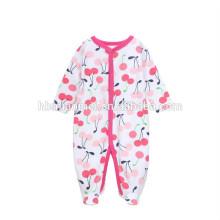 2017 neue Design Baby Mädchen Strampler Overall Erdbeere gedruckt Langarm Winter Strampler Baby