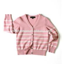 Hot sale kids cashmere unisex V neck strips design sweater