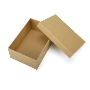 Brown plain cardboard paper box with lid