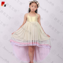 girls gold sequin rainbow color high low dress