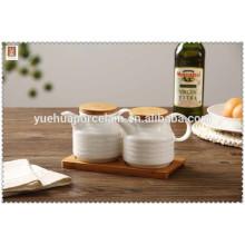hign quality ceramic cruet with bamboo tray