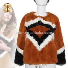 Venta al por mayor 2015 de la capa de la chaqueta de la piel del conejo de las mujeres modernas del estilo del arte pop