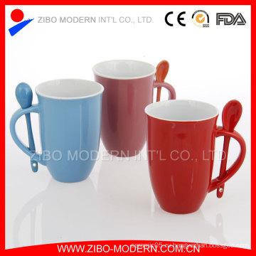 Керамическая кружка с ложкой, Керамическая кружка кофе Ложка в ручке