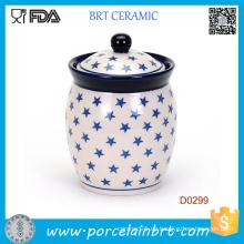 China Tarro de café hecho a mano del azúcar del tarro del almacenamiento de Ceramoic de la cocina