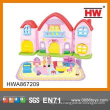 Nuevo juego de plástico de juguete de la casa del juego del diseño para las muchachas