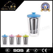 with Stainless Steel Infuser/Filter/Strainer Top Quality Glass Cup