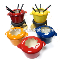 Utensilios de cocina de esmalte Set de fondue de hierro fundido