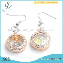 New model rose gold crystal floating lockets earrings with magnetic top selling