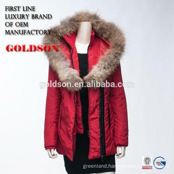 Red Ladies Sexy Winter Jacket OEM China With Big Raccoon Fur