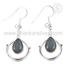 Natürliche Labradorit Edelstein Schmuck 925 Sterling Silber Ohrringe indischen Silberschmuck