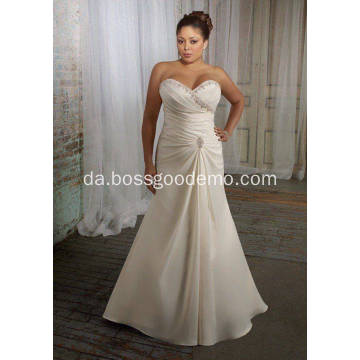 Elegant trompet Havfrue Sweetheart Sweep Train Satin Plus Size Wedding Dress 11223344