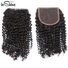 Alibaba Top Seller Wholesale100% Durable cutícula brasileña alineó la extensión del pelo de Remy cierre frontal bastante rizado del cordón
