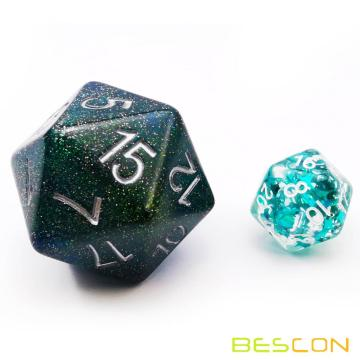 Bescon Glitter Jumbo D20 38MM, Big Size 20 Sides Dice Glitter Turquoise Green, Big 20 Faces Cube 1.5 inch