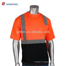En gros Adulte Haute Visibilité Néon Orange Sécurité T-shirt Réfléchissant Lumineux Maille À Manches Courtes Travail Sécurité T-shirts Avec Une Poche
