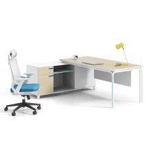 Modern Melamine Metal Frame L Shape Corner Office Desk Manager Table