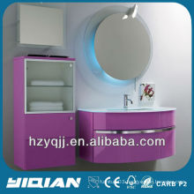 European Bathroom Furnishings Wall Mounted White Tempered Glass Washing Basin Vanity High Gloss Pink PVC& MDF Bathroom Cabinet