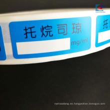 Impresión personalizada papel suspensión de productos médicos etiqueta de la tableta