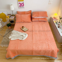 Home Decoration Bedspread Soft Queen Size Quilt Set Orange for Summer
