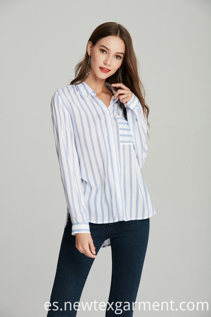 ladies blue stripe shirt