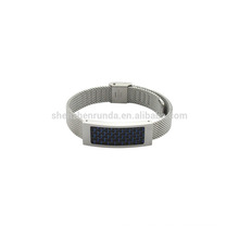 Acero inoxidable 10mm acero mush banda reloj unisex con fibra de carbono azul en las ventas nuevo brazalete de moda