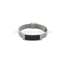 stainless steel 10mm steel mush band unisex watch with blue carbon fiber on sales new fashion bracelet