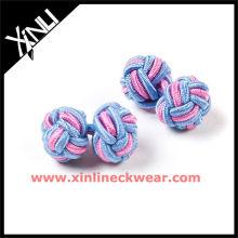 Botões de punho cor-de-rosa azuis do nó de seda da combinação de cor