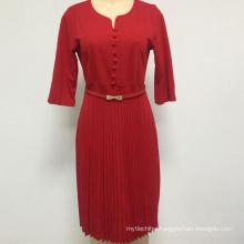 Wholesale Latest Designs Women Elegant Tie Waist Office Dress Plus Size Multicolor Woman Dress