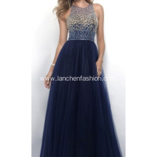 High-grade Halter Beading Sequin Backless Prom Dress