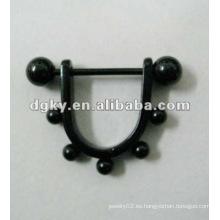 Plated Surgical Steel venta al por mayor pezón anillo de la joyería del cuerpo