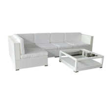 Muebles de jardín blanco PE rota del sofá
