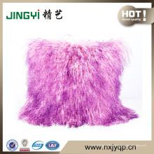 Housse de coussin en laine de mouton mongole tortueuse