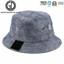Top Quality Washing Blue Denim Heat Pressed Bucket Hat