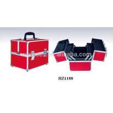 caso cosmético de aluminio rojo con bandejas dentro de ventas por mayor fabricante