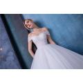 Elegant off shoulder empire a line wedding dress with shawl HA587