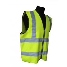 Colete de segurança amarelo de alta visibilidade com faixas refletoras