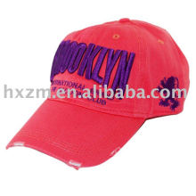 100% cotton applique embroidery unconstructed washed cap