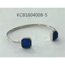 Open Metal Silver Plated Bracelet with Blue Gemstone