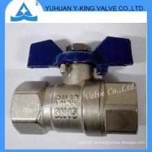 Válvulas de bola forjadas de latón de la manija de aluminio de la mariposa para el agua (YD-1076-1)