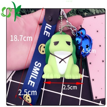 Duurzaam Silicone Custom 3D Travel Frog Sleutelhanger Label