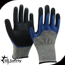 SRSAFETY Cut-5 working nitrile glove with 2 layer coating glove,anti-cut glove