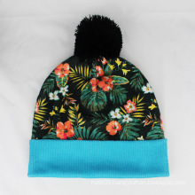 Floral Printing Beanie Hats Flowers Pattern