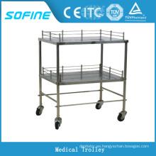 SF-DJ135 carritos médicos de acero inoxidable carro hospital