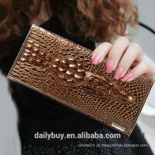 China carteira fabricante luxo couro mulheres dobrar a carteira