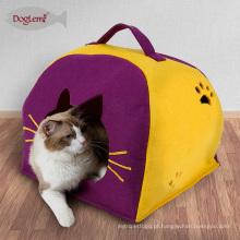 Camas de dossel para cães natureza feltro gato Lgloo Play House Inverno animais de estimação caverna com almofada removível de Carry Cat House