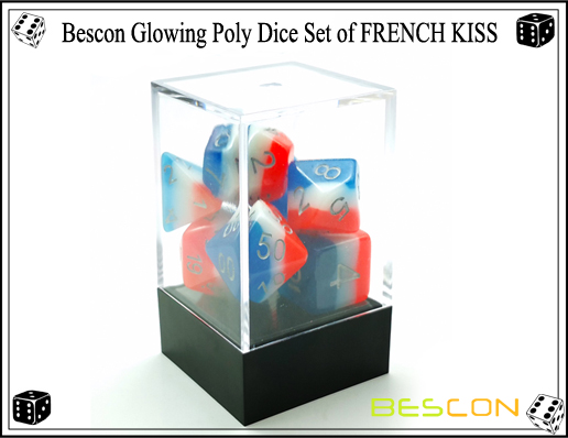 Bescon Glowing Poly Dice Set of FRENCH KISS-3