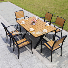 Wholesale plastic wood furniture patio aluminum frame wood dining chair table set use for garden or lounge