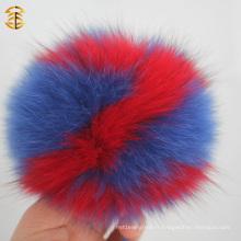 Nouveau gros Alphabet Real Fox Fur Pom Poms Porte-clés Fluffy Pompom Keychain
