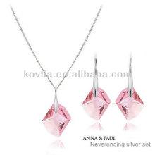 2014 новейших девочек дизайн розовый кристалл набор ювелирных изделий