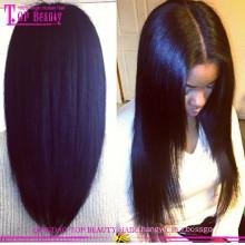 Циндао волос Оптовая цена дешевые длинные черные прямые волосы бразильянина девственницы кружева перед парик