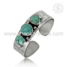 Brillante turquesa de piedras preciosas de plata de alta calidad brazalete de plata de ley 925 joyas de joyería hecha a mano mayorista